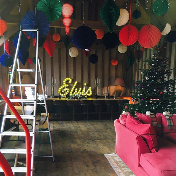 <p>The Olivers pulled out all the stops for their family Christmas hanging colourful decorations from the ceilings and the tree. The piece de resistence was this neon Elvis sign, which attracted many comments of admiration on Instagram.</p>