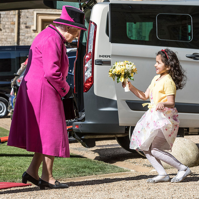 The Queen was delighted to receive a blooming bouquet of flowers from a young fan at Windsor Castle on April 25. 