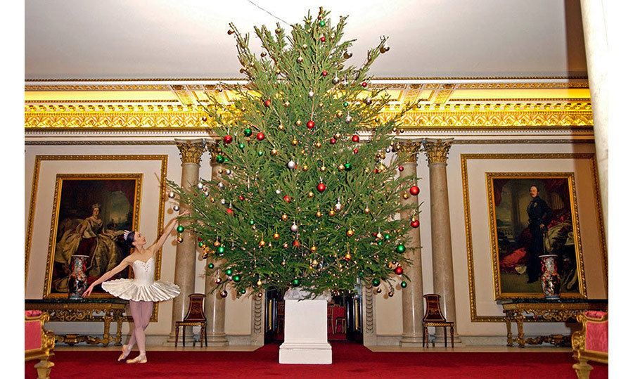 <p>The Duke of York hosted a special Christmas Tea at Buckingham Palace in 2004, where dancers from The English National Ballet took the opportunity to perform around the gigantic Christmas tree. This tree, one of many within the Palace, is decorated in a red, gold, green and silver colour scheme, the perfect match to its setting, which has red carpets and ornate gold furnishings.</p>