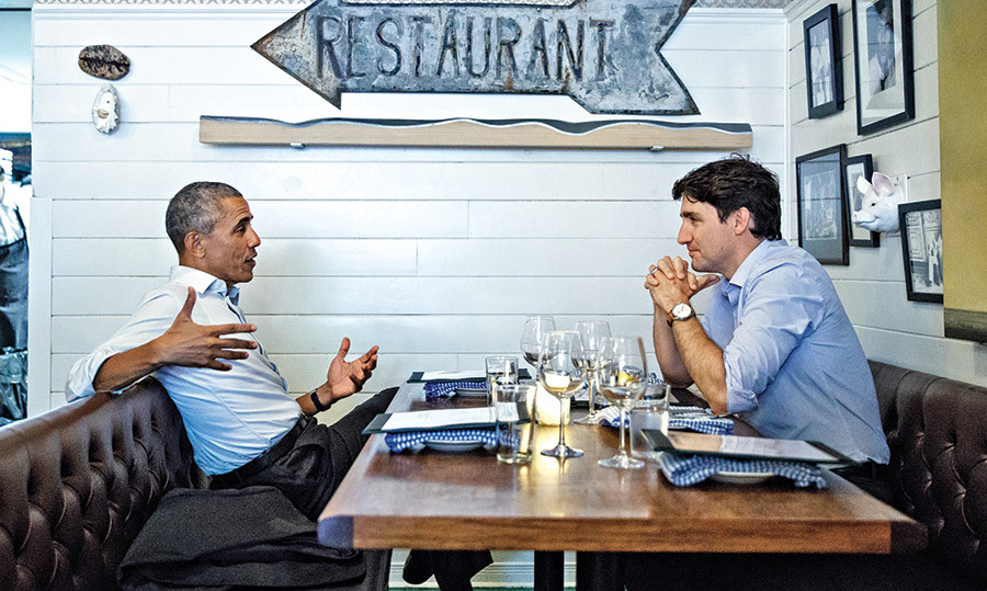 "<h4>GREAT POLITICIANS, BETTER FRIENDS</h4><p>Former U.S. President Barack Obama met with Canadian Prime Minister Justin Trudeau for a friendly dinner in Montreal, where a ""wall of people"" watched them as they feasted on oysters, asparagus and halibut at the seafood restaurant Liverpool House.</p><p>Photo: &copy; Getty Images</p>"