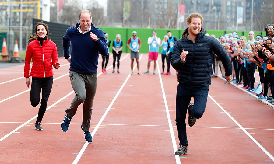 "<h4>ON YOUR MARK, GET SET, GO!</h4><p>It was a win for Prince Harry when he competed against his brother and sister-in-law in a London relay race supporting their mental health campaign Heads Together. As they crossed the finish line, William turned to Kate and said, ""You nearly beat me!"" </p>