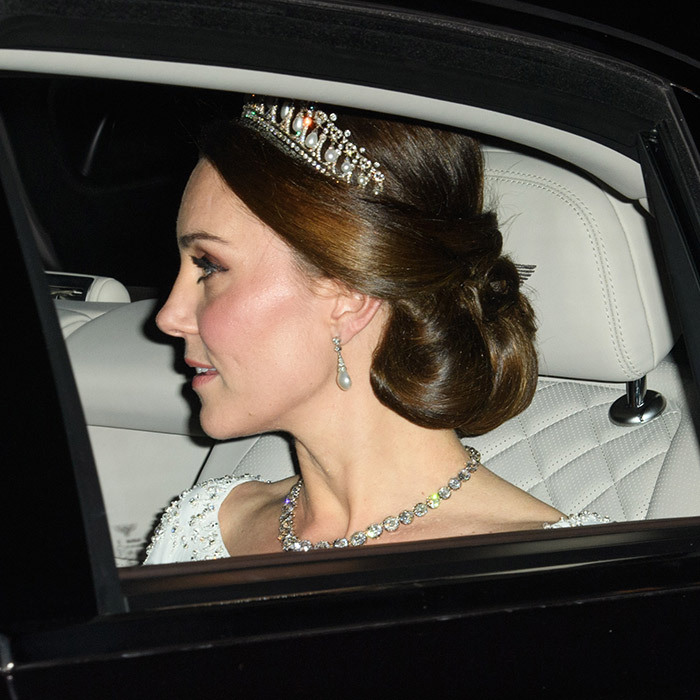 <h4>THE ROYAL HAND-ME-DOWNS </h4><p>The Duchess of Cambridge donned the Cambridge Lover's Knot tiara – her late mother-in-law's favourite – for a palace reception. Created in 1914 for Queen Mary, it was a wedding gift from the Queen to Princess Diana and is now one of Kate's favourites, too. </p><p>Photo: &copy; Getty Images</p>