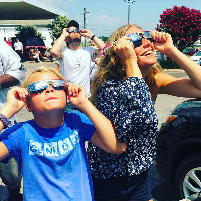 <h4>TOTAL ECLIPSE WITH THE STARS</h4><p>On Aug. 21, skies darkened from Oregon to South Carolina in the first total solar eclipse visible from coast to coast across the U.S. in 99 years. Gwenyth Paltrow and son Moses, 11, were among those who donned protective sunglasses to take in the rare phenomenon.</p><p>Photo: &copy; Getty Images</p>
