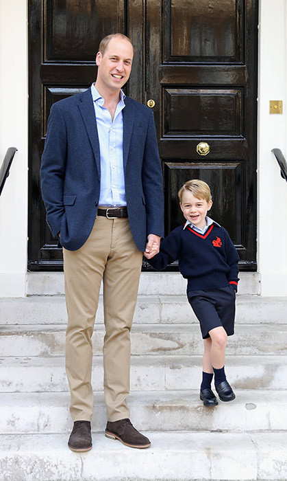 <h4>PRINCE GEORGE HEADS TO SCHOOL</h4><p>Just days after his mom, the Duchess of Cambridge, revealed she was pregnant with her third child, first-born Prince George, 4, put on his uniform and best smile and set off with his dad, Prince William, to the first day of school at Thomas's Battersea in London. </p><p>Photo: &copy; Getty Images</p>