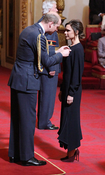 <h4>WHAT'S A LITTLE OBE BETWEEN FRIENDS?</h4><p>Victoria Beckham officially became part of Britain's Establishment when her pal Prince William made her an officer of the Order of the British Empire (OBE), for her charity and fashion work. She and husband David attended William and Kate's wedding in 2011.</p>