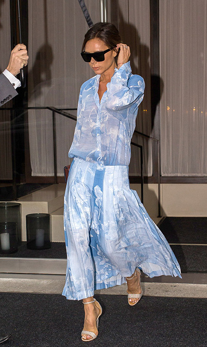 <p>We love this baby blue sheer dress on Victoria. The star wore the pretty summer outfit in August in New York and finished off the look with some light pink sandals.</p>