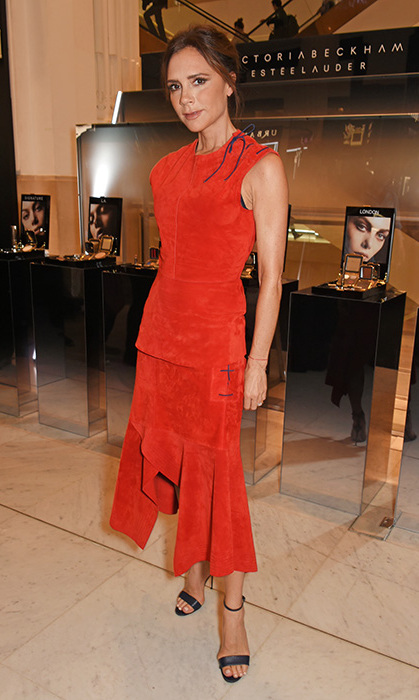 <p>Victoria rocked this red dress at the <em>Estee Lauder Autumn Winter 17 launch</em> at Selfridges in September. The star matched her black sandals with the tie detail on the shoulder of her outfit.</p>