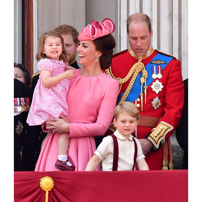 "<p>The royal brother and sister were the centre of attention at&nbsp;<strong><a href=""/tags/0/trooping-the-colour/""><em>Trooping the Colour</em></a></strong>&nbsp;this year. Charlotte matched mum Kate's outfit with the pair both wearing pretty pink dresses, while George wore red braces to match dad William's military uniform.</p>