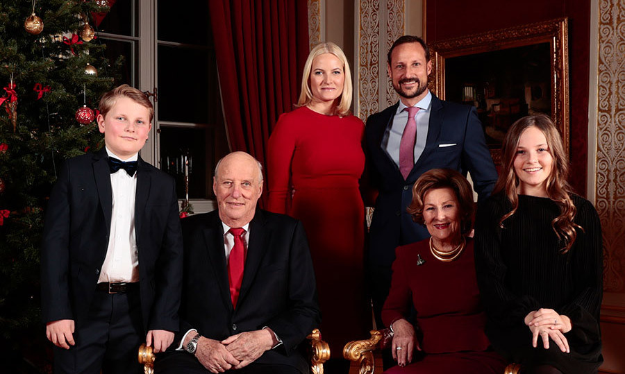<p>Also included are the crown couple's children, Princess Ingrid and Prince Sverre Magnus. Mette-Marit's son from a previous relationship, 20-year-old Marius Borg Hoiby, is not pictured</p>