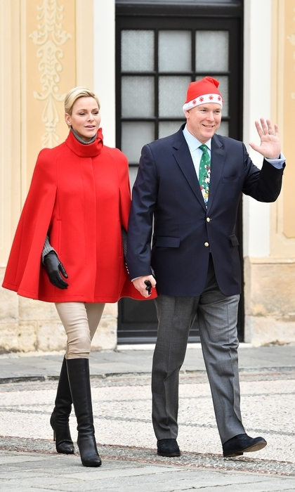 Princess Charlene and Prince Albert II of Monaco attended the Christmas Gifts Distribution on Dec. 20.