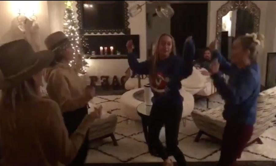 "Miley Cyrus enjoyed a dance party with her sisters and mom on Christmas Eve. Attached to a video of herself dancing to NSYNC's Merry, Christmas Happy Holidays, the singer penned, ""The tree ain't the only thang gettin LIT this year.  @tishcyrus @brandicyrus @noahcyrus.""