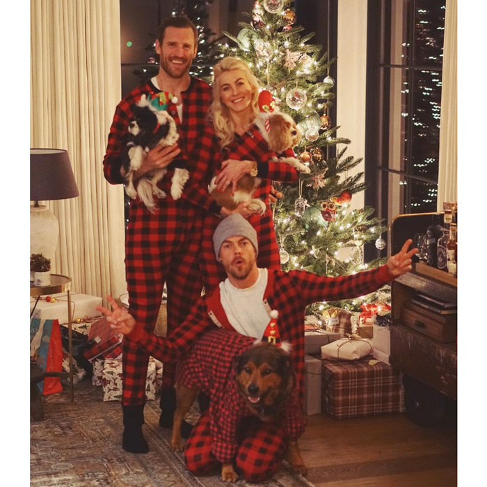 "Derek Hough didn't mind third-wheeling with his sister Julianne and her husband Brooks Laich on Christmas Eve. The blonde beauty shared a snap of herself and her boys writing, ""Happy Holidays from our family to yours! ❄️⛄️ 虜老.""