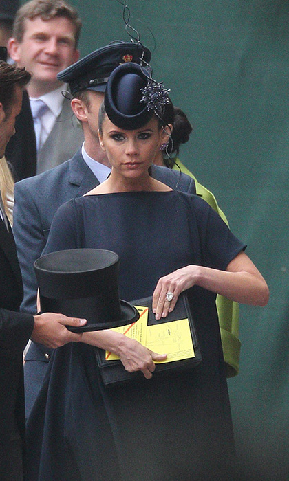 Victoria Beckham attended the Duke and Duchess of Cambridge's wedding in 2011, and wore a navy blue dress from her own range, Christian Louboutin high-heel shoes and of course, a navy hat by Philip Treacy. The design was small in size, and featured a dazzling embellished brooch.
