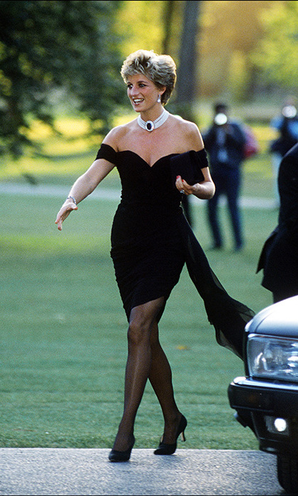 Princess Diana almost stopped traffic in 1992 as she attended a charity dinner at the Serpentine Gallery in Hyde Park London, wearing a stunning bandeau cut dress by Greek designer Christina Stambolian. It became an instant hit all over the globe and is now one of the Princess's best-known fashion looks.