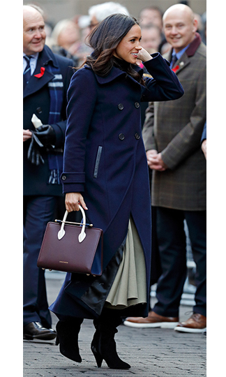 Meghan Markle certainly knows her arm candy! On 1 December whilst out in Nottingham for her very first official public engagement with Prince Harry, she wore a smart burgundy handbag by little known Scottish brand Strathberry. The bag sold out in minutes and won't be available again until 2018!