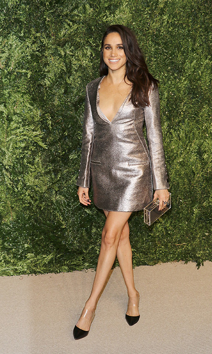 In 2015, Meghan Markle attended a high-profile fashion event for <i>Vogue Magazine</i> – The Fashion Fund Awards. The actresses dazzled waiting photographers in a metallic mini dress by Misha Nonoo, and carried a pretty little transparent box clutch by British designer Charlotte Olympia.