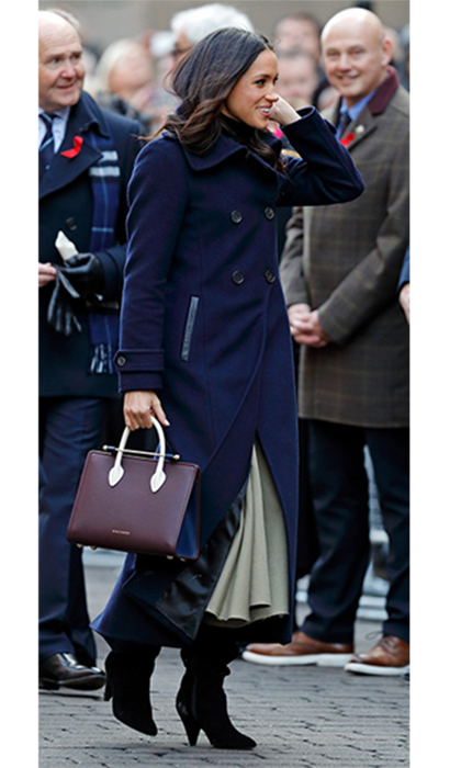 When Prince Harry's new fiancée Meghan Markle made her first official engagement in Nottingham with her husband-to-be, everyone went wild for the classic burgundy tote bag that the actress was sporting. The $846 bag is by Scottish label Strathberry, and propelled the brand onto a world-wide platform, with the bag selling out in minutes. Never fear fashion fans - the bag will be back in stock early 2018.