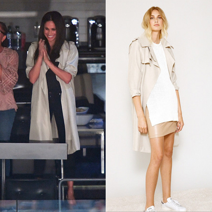 When her mom Doria Radlan joined her for the Invictus closing ceremony at the Air Canada Centre, Meghan continued her pared-down laidback style in a LINE 'Margaux' washed twill trench coat, black Paige skinny jeans and Stuart Weitzman heels.