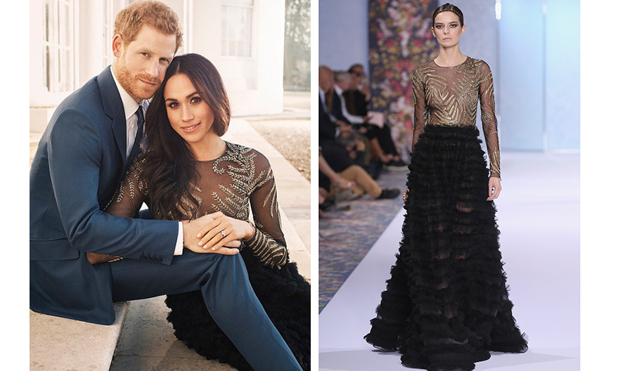 For her engagement photo session in December, Meghan went for this 'haute' look – a Fall 2016 gown by Ralph & Russo, which has an estimated price tag of around $75,000! The dramatic dress, seen on the Paris haute couture catwalk, right, features a sheer bodice with bronze appliqué and a black tiered A-line skirt. 