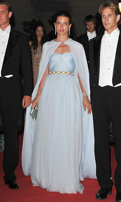 Any doubt that Monaco royal and fashion star Charlotte Casiraghi takes after Grace Kelly was erased when she evoked her film star grandmother in this caped pale blue creation. The Giambattista Valli design, worn to a dinner following Prince Albert and Princess Charlene's wedding, looked like something Princess Grace would have worn during her 1950s Hollywood heyday.