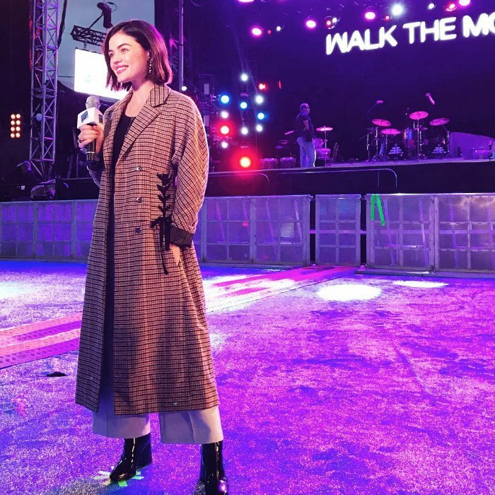"Pretty little New Year's! Lucy Hale was excited to return as a correspondent for ""New Year's Rockin' Eve"" on ABC. The star shareda  behind-the-scenes photos to Instagram, writing: ""Excited to ring in the new year on @rockineve live from New Orleans! Don't miss it tomorrow at 8/7c on ABC ✨ #NOLAxRockinEve #Hello2018""