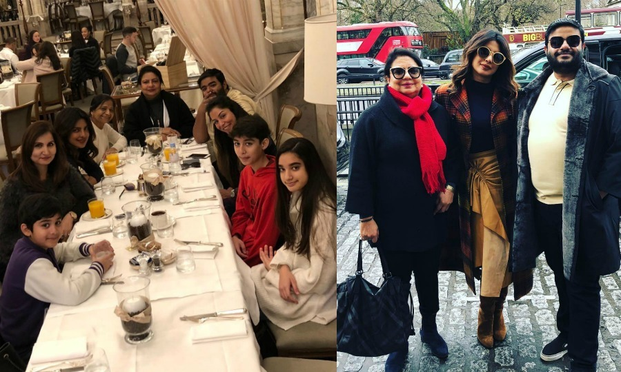 "A family celebration! The <i>Quantico</i> star finished up 2017 with a family gathering in London. She shared several photos from the trip, the one on the left showing her clan at a large brunch. ""London brunches that never end.. lol. Last day of 2017!!"" she wrote.