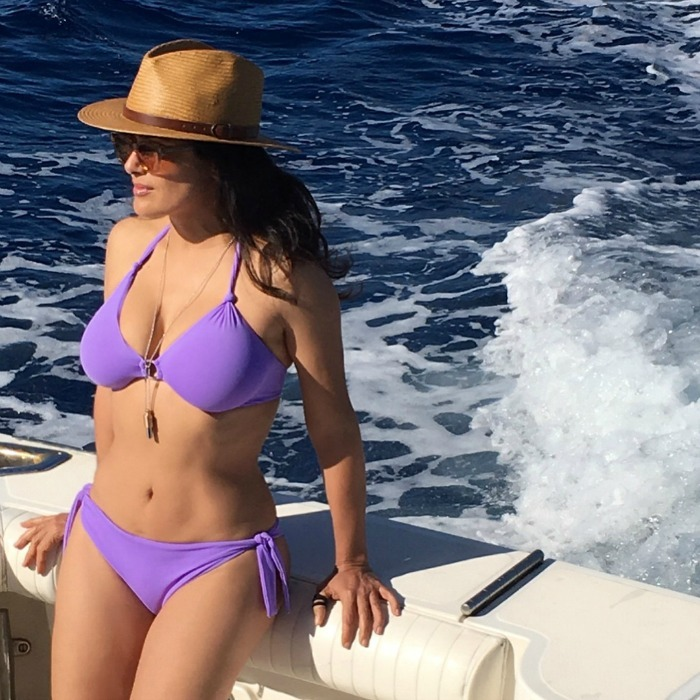 "Salma Hayek sailed out of 2017 by posting a stunning bikini pic to Instagram. The actress showed off her sculptural figure, wearing a purple two-piece swimsuit while on board a boat. Her hair blew in the breeze as she took in the view, accessorizing with sunglasses and a brimmed hat. ""I adore the ocean,"" the star wrote along with the hot boatside pic.