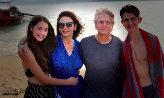 Catherine Zeta-Jones and her beautiful family posed for a sunny beach photo in celebration of the New Year.