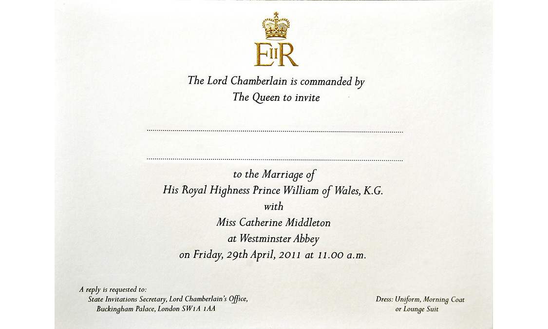 Prince William and Kate Middleton's wedding invitation as they are prepared for postage at Buckingham Palace, on February 16, 2011 in London, England.