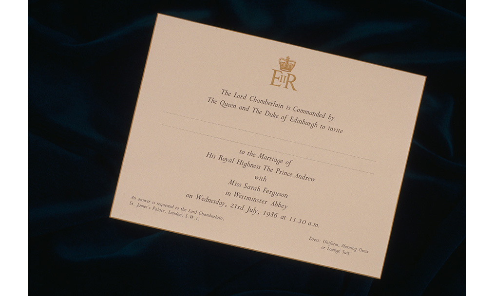 An invitation to the wedding of Prince Andrew to Miss Sarah Ferguson, on 23rd July 1986.	