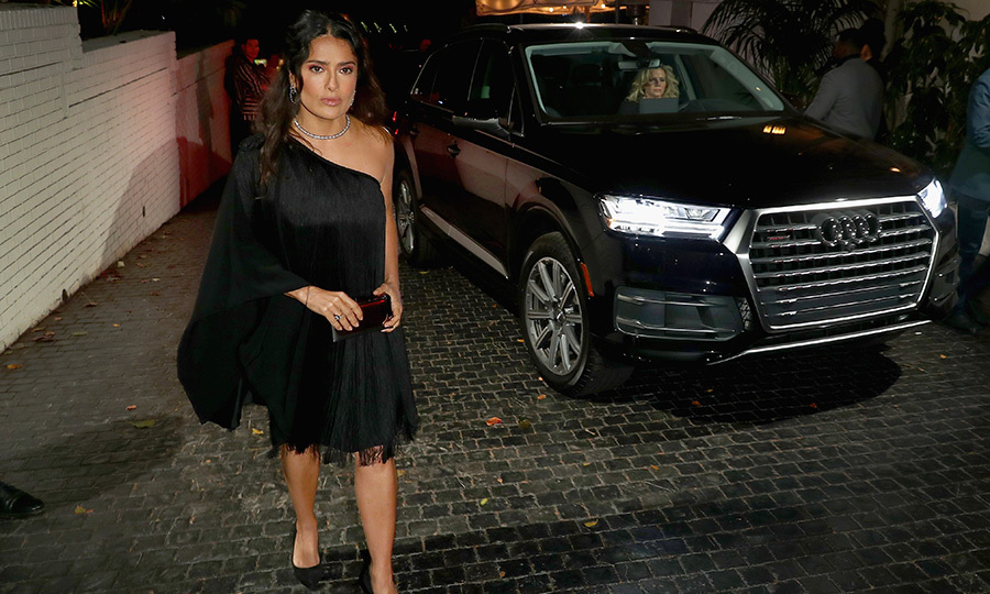 Salma Hayek arrived to the pre-show party in style! The actress was nominated for a Golden Globe for her role in <i>Frida</i> back in 2003.