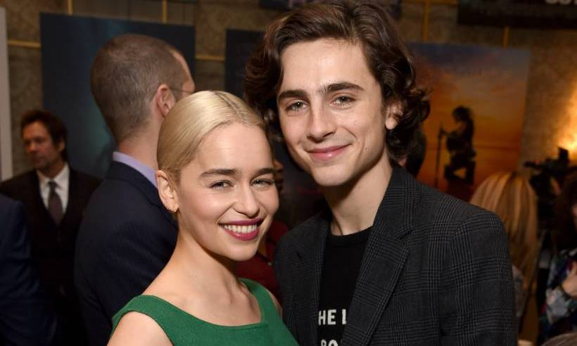 Emilia Clarke and <i>Call Me By Your Name</i> star Timothy Chamalet were all smiles at the AFI Awards on January 5.