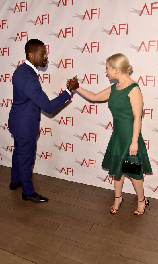 <i>This Is Us</i> star Stirling K. Brown and the stunning Emilia Clarke shared a silly moment while arriving at the AFI Awards this week. This was their first time meeting!