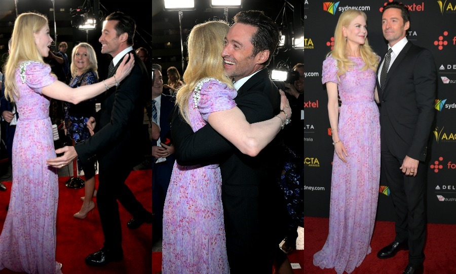 Nicole Kidman and Hugh Jackman shared a sweet moment on the 7th AACTA International Awards red carpet at the Avalon Hollywood in Los Angeles. The friends, who have worked on two movies together, seemed thrilled to see each other as they walked into the event. The ceremony was a star-studded affair, with nominees and VIP guests in attendance including: Nicole's hubby Keith Urban, Gary Oldman and Sam Rockwell.