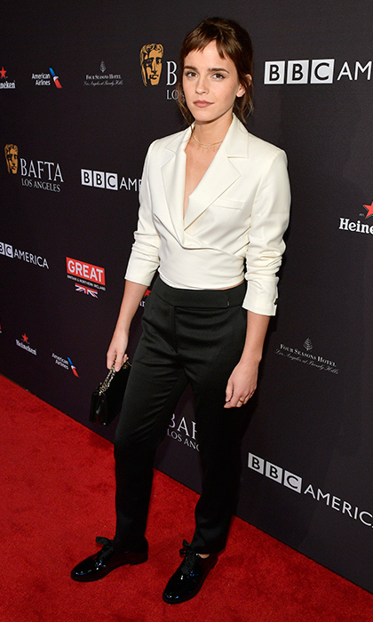 Presenter Emma Watson put her best suit forward on the red carpet at BAFTA's annual Los Angeles event, where the British actress raised her tea cup to fellow Hollywood talents at the traditional British tea party.