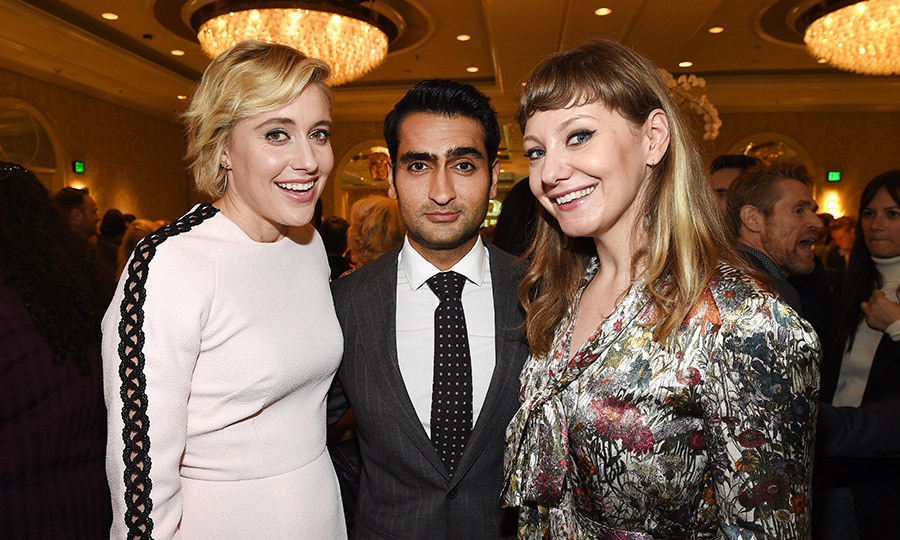 Meeting of the minds! Lady Bird writer Greta Gerwig, whose directorial debut is nominated for multiple Golden Globes, posed at the BAFTA Tea Party with Kumail Nanjiani and his wife Emily V. Gordon, the couple behind 2017's critical darling The Big Sick.