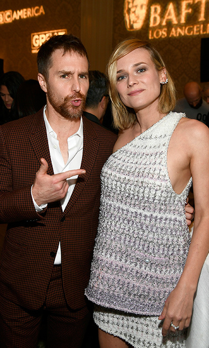 She's the one! Sam Rockwell, Best Actor nominee for Three Billboards Outside Ebbing, Missouri, playfully pointed to fellow nominee Diane Kruger at the BAFTA Tea Party. The German actress stars in In The Fade, nominated for best foreign film. 