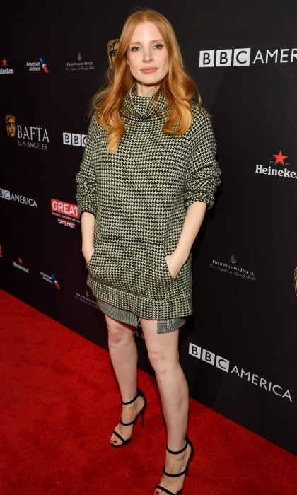 Fashion game! Jessica Chastain opted for a flirty houndstooth dress designed by Ralph Lauren for her busy day of Golden Globes outings. The <i>Molly's Game</i> star was spotted in the ensemble at the BAFTA Tea Party and Gold Meets Golden events in L.A.