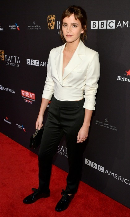 Edgy Emma! While walking the BAFTA carpet, Emma Watson debuted a fresh new look: a fringed dark-colored hairstyle. The 27-year-old actress and activist looked poised in a monochromatic outfit, showcasing her natural beauty with minimal makeup and accessorizing simply with a black clutch.