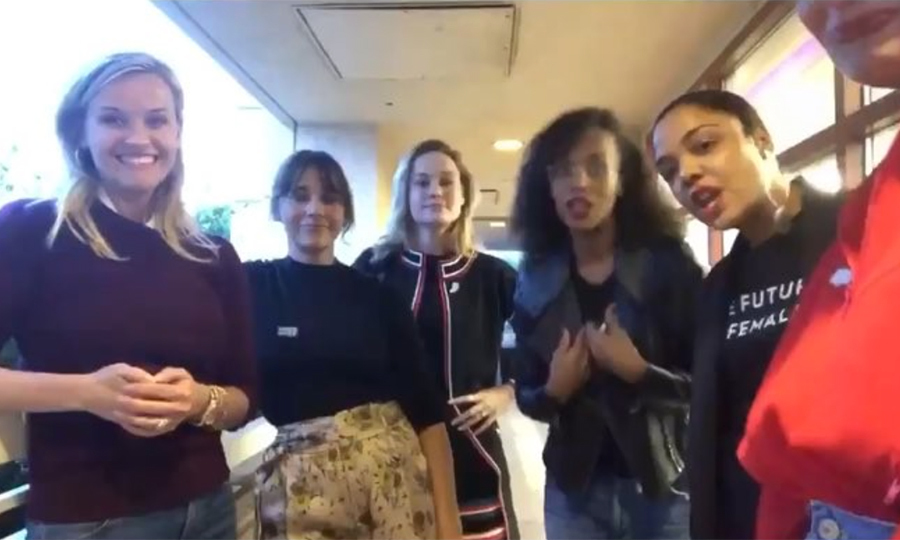 #SquadGoals! Reese Witherspoon, Rashida Jones, Brie Larson, Kerry Washington, Tessa Thompson and Tracee Ellis Ross shared the important message of Time's Up before the show.