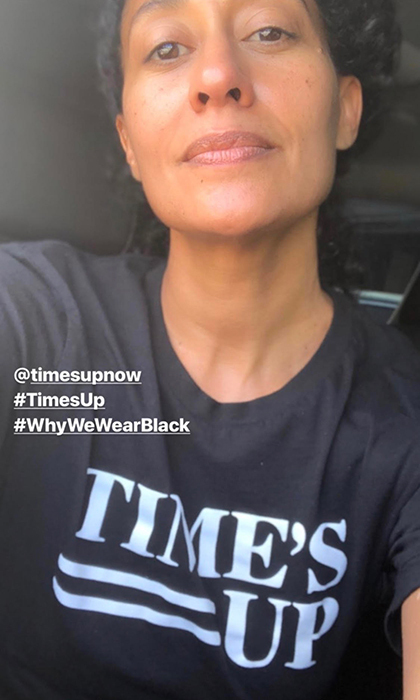 A fresh-faced Tracee Ellis Ross posed on her Instagram Story in a Time's Up t-shirt to show solidarity for the message against gender inequality in Hollywood and the world at large.