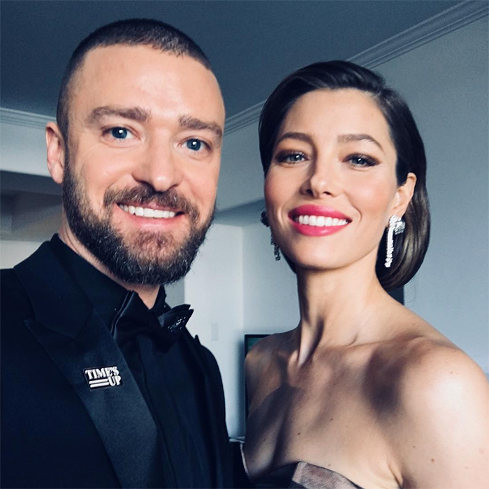 "Hollywood's favourite couple were all smiles before hitting the red carpet! Justin captioned the photo, ""Here we come!! And DAMN, my wife is hot!