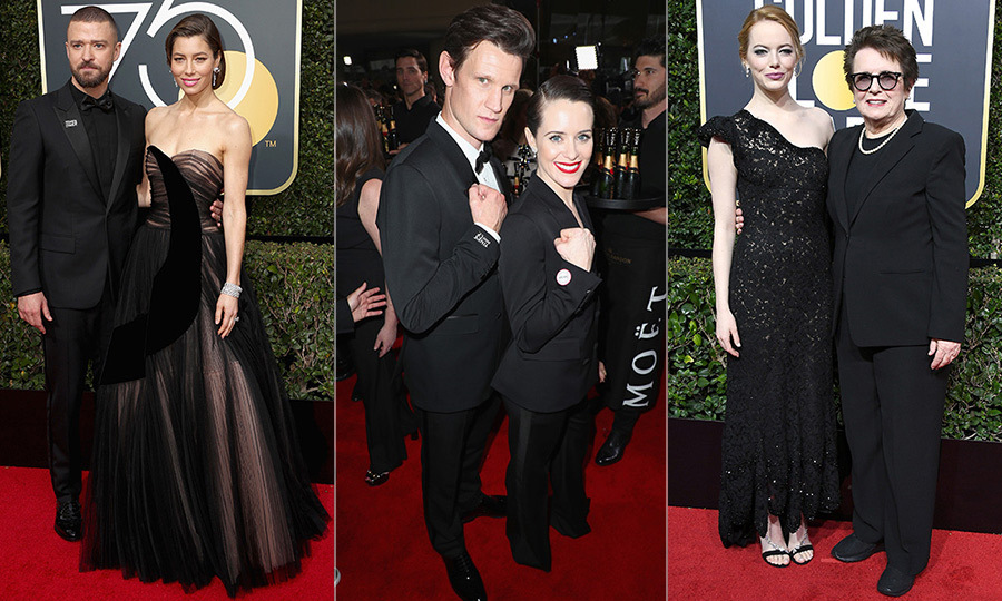 "<p>From significant others to activists, parties of two were a staple on the 2018 Golden Globes red carpet. There were husband and wife duos like Jessica Biel and Justin Timberlake, as well as professional partners like The Crown's Claire Foy and Matt Smith. There were also a number of stars who arrived with change makers as their pre-show counterparts, like Emma Stone who brought tennis legend Billie Jean King, as part of the ""Time's Up"" movement. Here's a roundup of the evening's best and most memorable twosomes.</p>