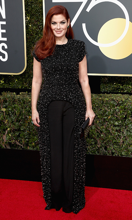 In addition to dazzling in an incredible black ensemble, Debra had a lot to say on the Golden Globes red carpet!