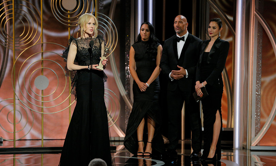 Nicole Kidman accepting her Golden Globe for Best Actress in a Mini-Series or TV Movie for <i>Big Little Lies</i>.
