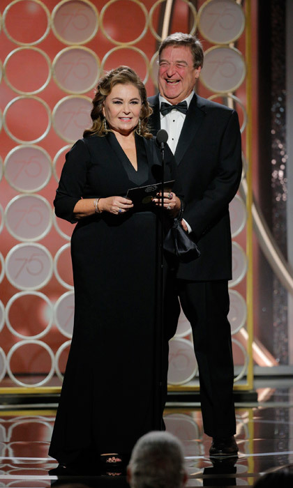 Roseanne Barr and John Goodman reunited on stage to bring some laughter to the Golden Globes! The two were responsible for presenting best TV series, drama.