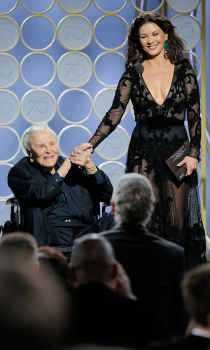 Catherine Zeta-Jones took the stage with her father-in-law Kirk Douglas to present the award for best screenplay. But it wasn't before a beautiful video tribute to the actor's legendary career.