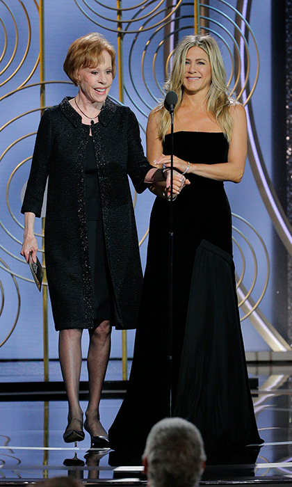 <h4>Jennifer Aniston and Carol Burnett presenting together</h4>