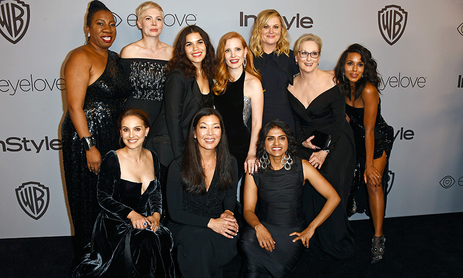 In support of the Time's Up movement to combat gender inequality in Hollywood, the stars dressed all in black for the Golden Globes on Sunday (Jan. 7). Some of the celebrity pioneers of the movement also attended the awards night with activists they've been working with, like  #MeToo founder Tarana Burke, director of National Domestic Workers Alliance Ai-jen Poo and co-founder of the Restaurant Opportunities Centers United Saru Jayaraman.