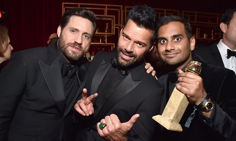 <p>Edgar Ramirez and Ricky Martin congratulated <em>Master Of None</em>'s Aziz Ansari, who made Globes history as the first Asian American actor to win for best leading performance in a TV comedy.<br/><br/>Photo: &copy; Kevin Mazur/Getty Images for Netflix</p>